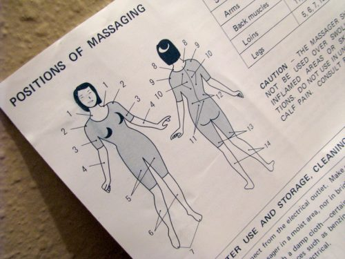 "Hitachi manual with a diagram of ""positions of massaging"" on the body."