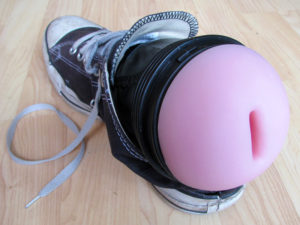The shoe method of using a Fleshlight
