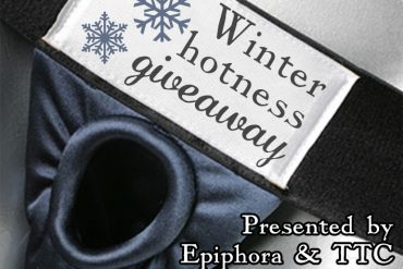 Winter hotness giveaway graphic, showing the giveaway name on the label of the Spareparts Joque harness.