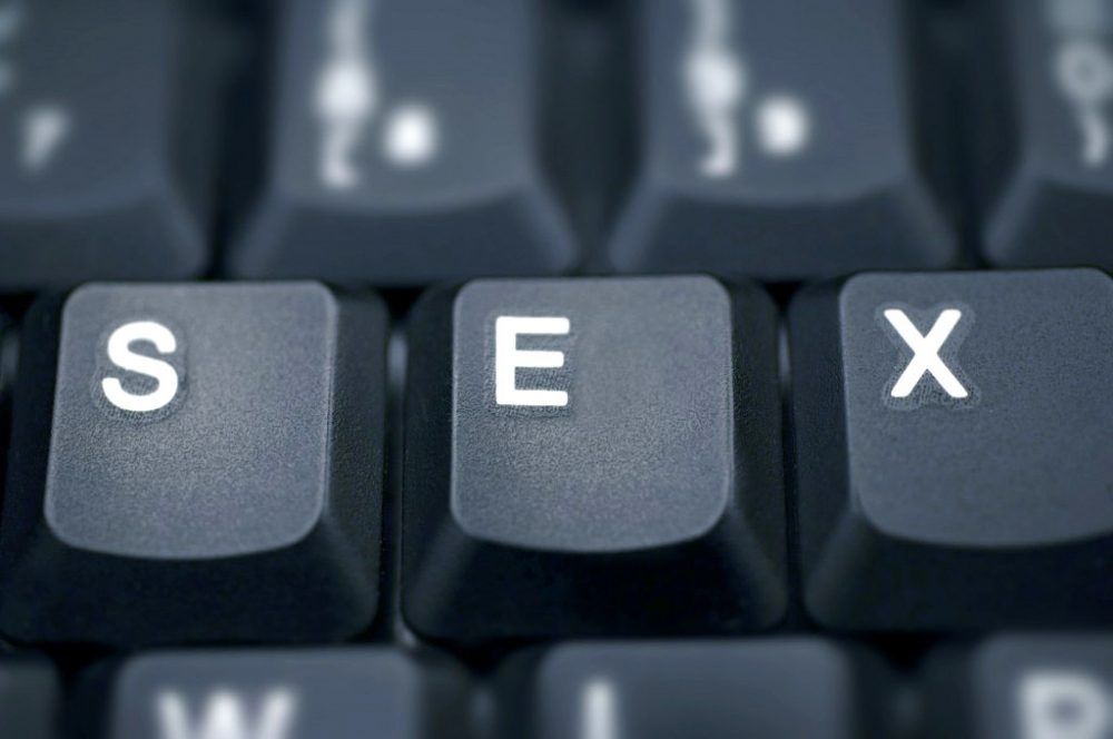 """A keyboard spelling out """"SEX."""" Because sex blogging = a rearranged keyboard, duh."""
