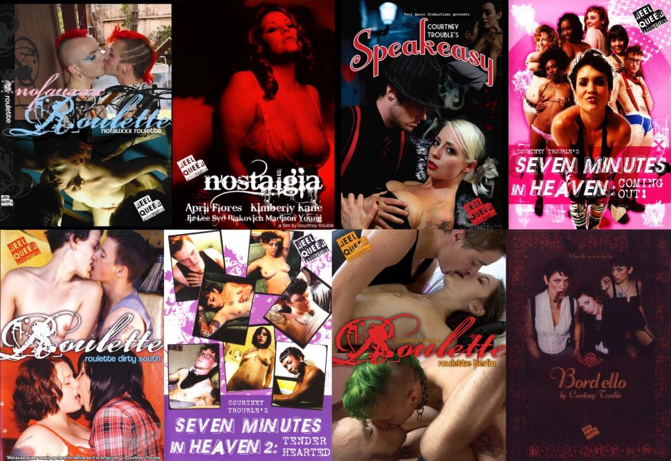 A collage of eight of Courtney Trouble's queer porn film DVD covers.