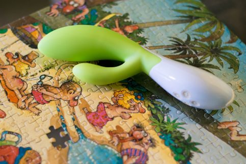 """LELO Ina rechargeable vibrator, on top of the """"naked people puzzle,"""" as my family calls it"""