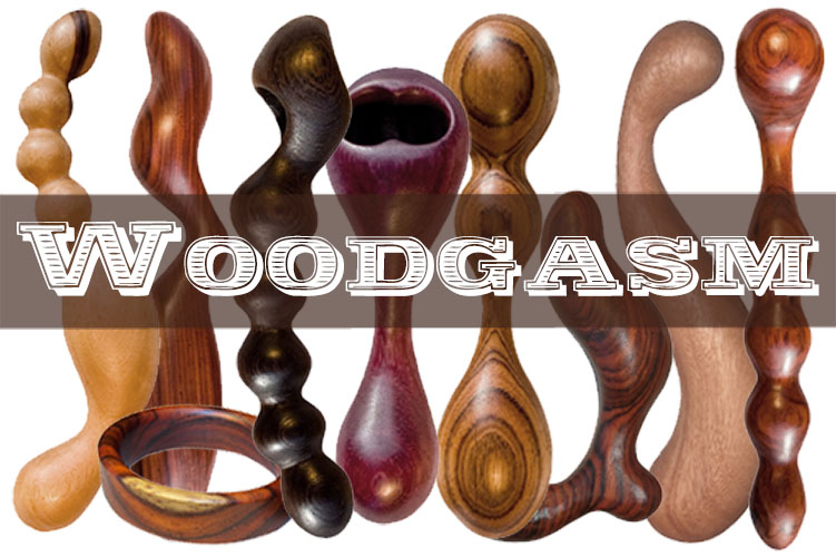 Woodgasm sex toy giveaway: wooden sex toys all lined up.
