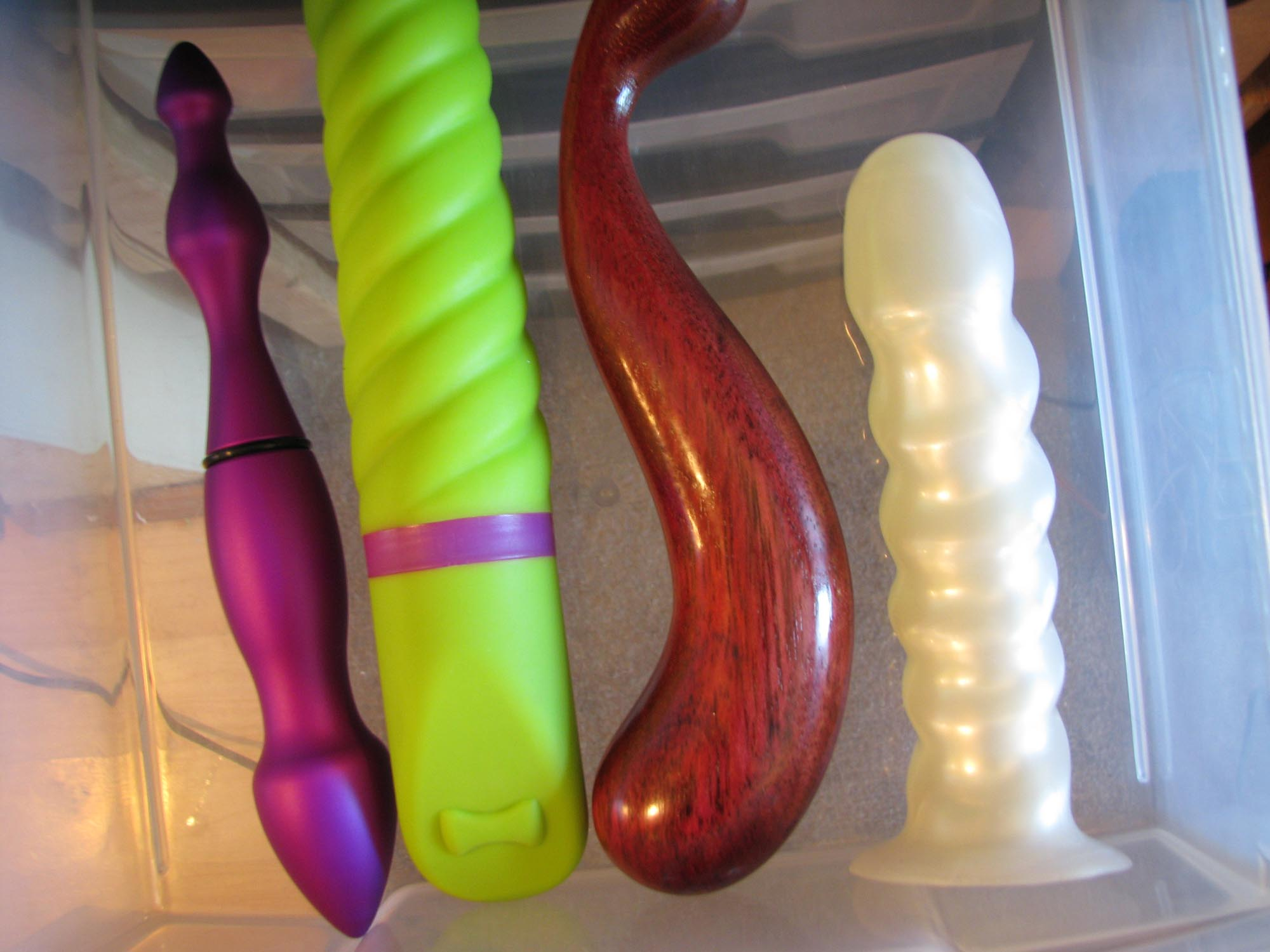 Drawer of sparse yet awesome sex toys.