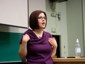 Tristan Taormino lecturing at a university. Strangely, the room seems not to have exploded the moment she opened her mouth?