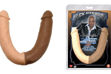Why why why why why why. A double-ended dildo, in which one side is cream-colored, and the other is chocolate-colored.