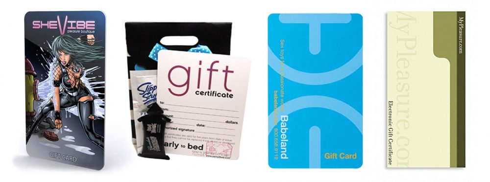 Gift cards to SheVibe, Early to Bed, Babeland, and MyPleasuure