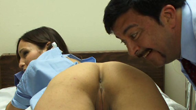 Some creeper smiling and staring at Amber Rayne's butthole.