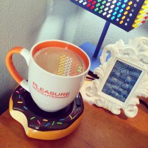 Tantus mug and knitted vulva on my desk