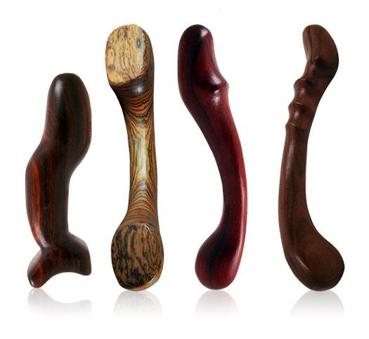 Penetralia wooden dildos: Number 66, Number 28, Number 23, Number 33