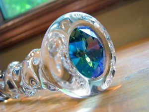Crystal Delights Star Delight close-up of the beautiful glacier blue aqua Swarovski crystal in the end.