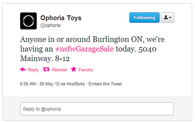 "Tweet from Ophoria advertising a ""NSFW garage sale"""