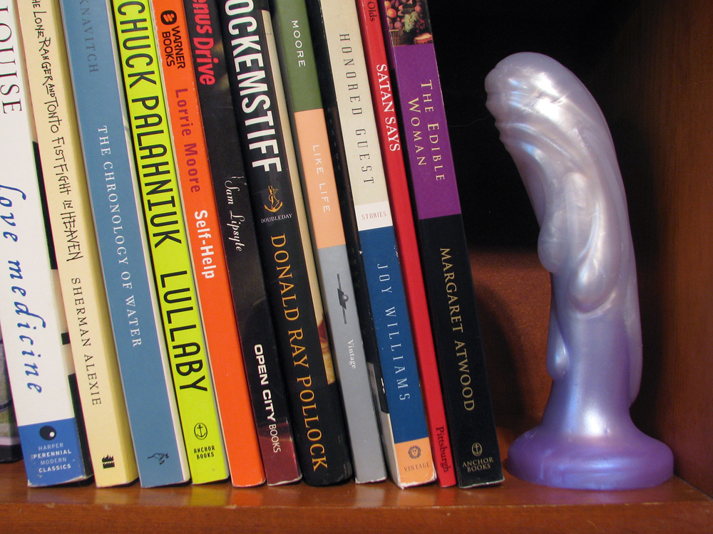 Tantus Splash, a well-read dildo, standing on a bookshelf.