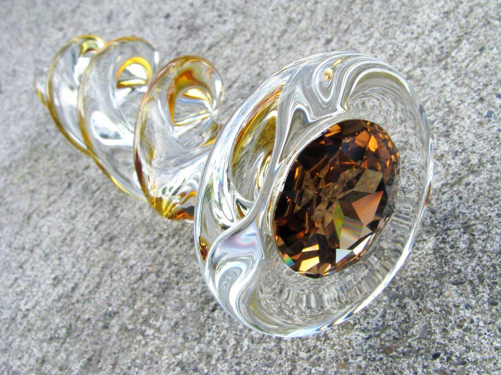 Crystal Delights Crystal Twist swirly glass dildo on my porch.