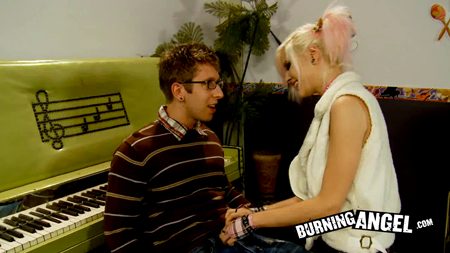Danny Wylde (wearing a cute sweater and emo glasses) and Effie.