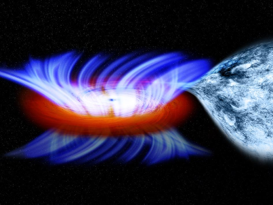 Here is a black hole devouring some gas. Credit: NASA/CXC/M.Weiss. I'm sure NASA would be pleased to see their photo used for such educational purposes.
