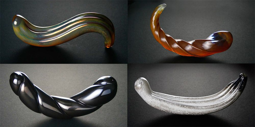 Glass dildos by Fucking Sculptures: G-Spoon, Corkscrew, Two-Cumber, Hooded Nun.
