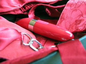 LELO Mia 2 in the Adore Me Pleasure Set, lots of red satin-y stuff surrounding the vibrator.