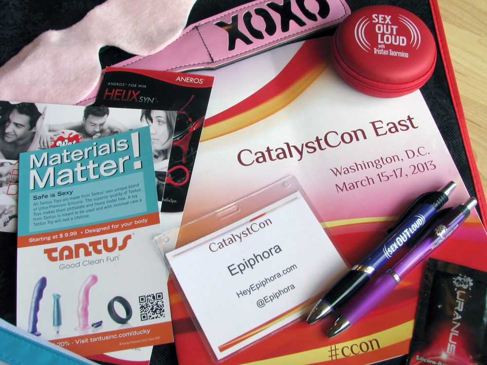CatalystCon swag bag. Apparently Wet makes a lube called Uranus.
