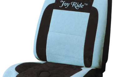 The Joy Ride: a car seat cover with a flexible O-ring in just the right spot on the seat.