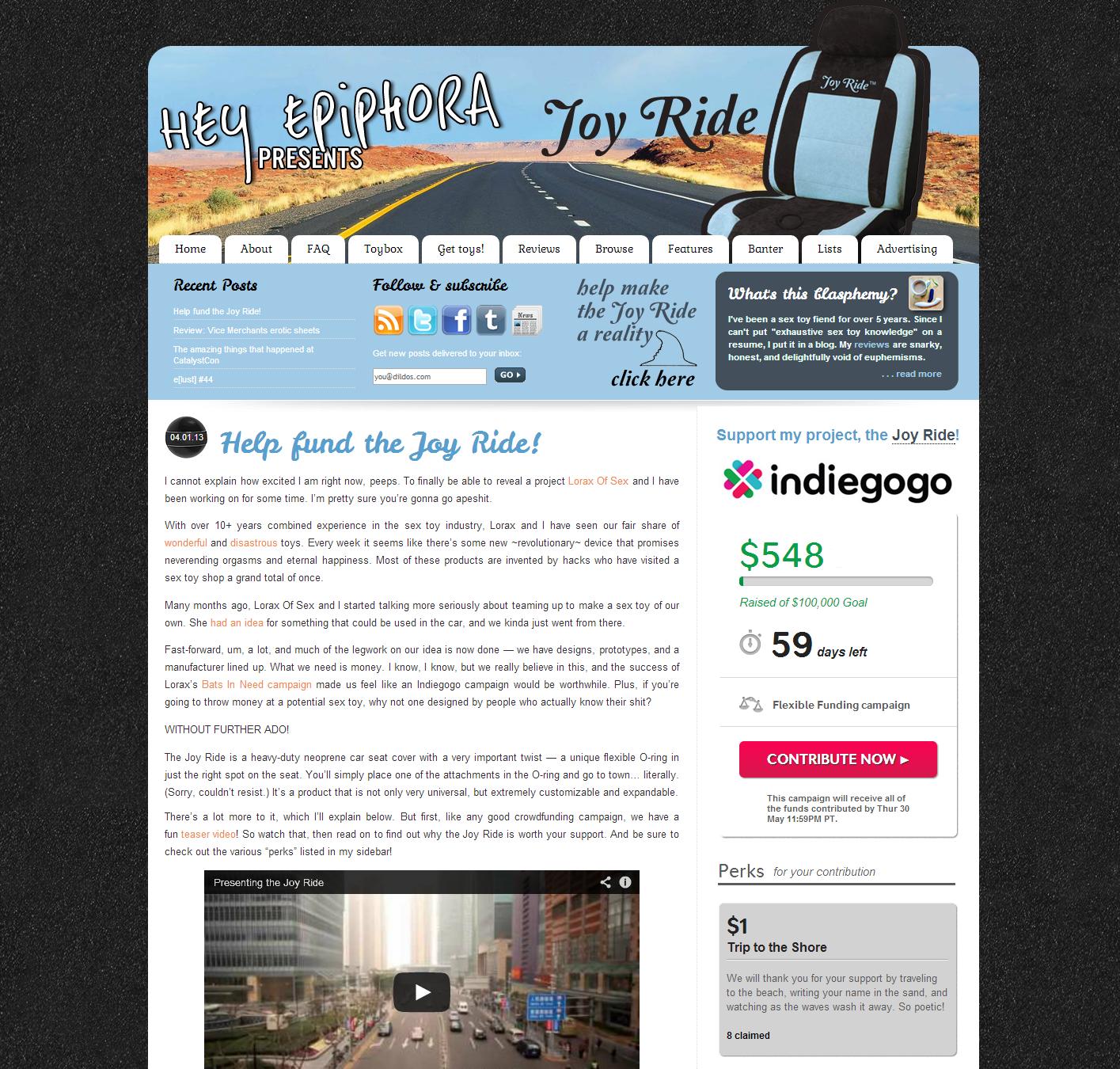 Screenshot of my site's homepage advertising the Joy Ride crowdfunding campaign.
