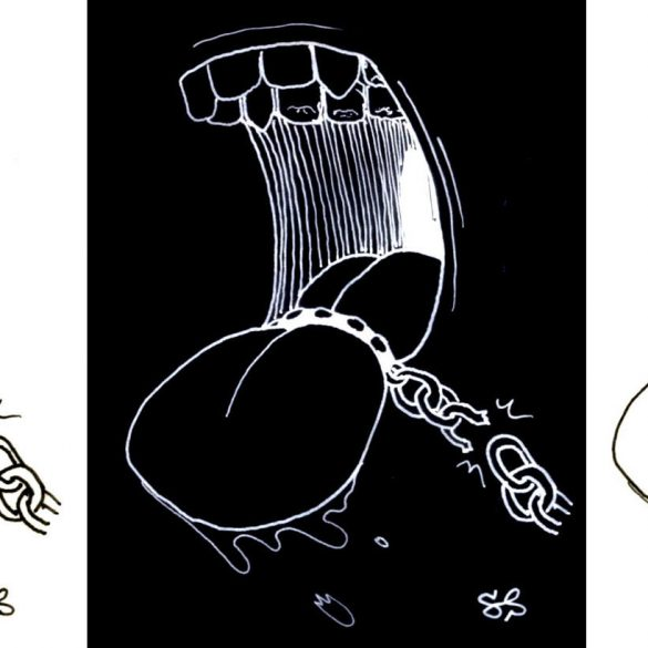 """""""The Art of Defamation"""" by Santi Slade. A drawing of a tongue being restrained by a chain."""
