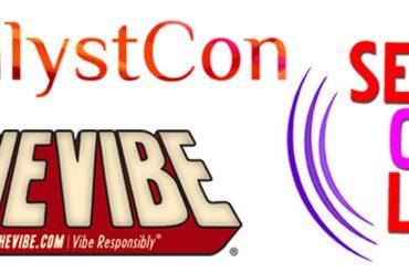 Various logos: CatalystCon, SheVibe, Sex Out Loud Radio