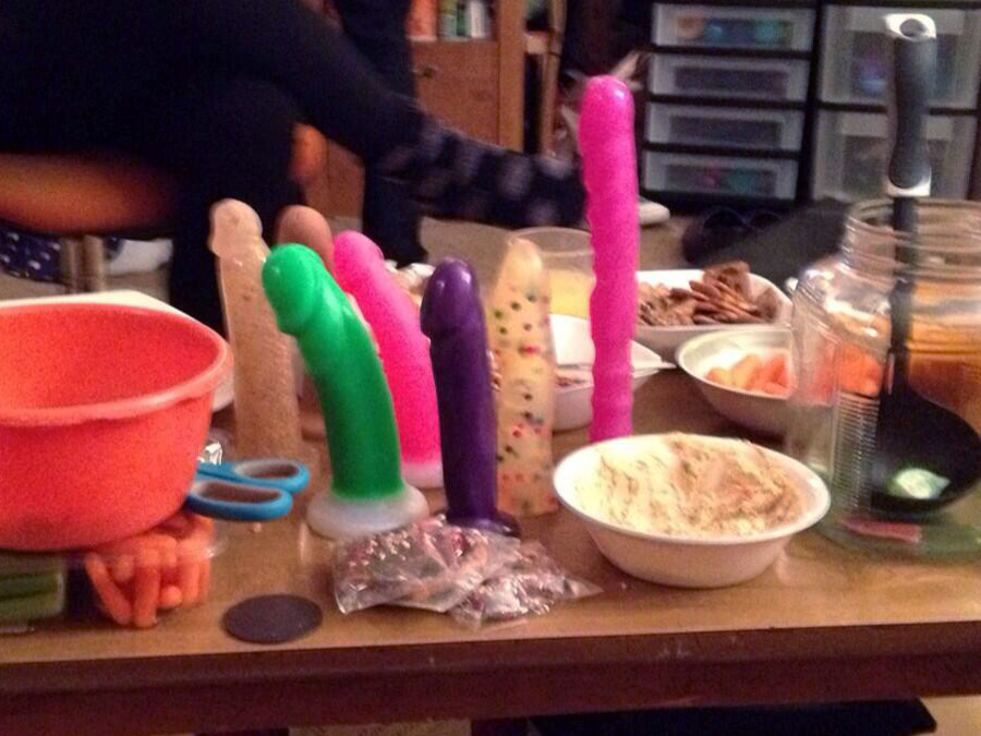 Dildos among the smorgasbord, at a party.