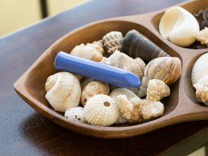 We-Vibe Tango rechargeable bullet vibrator in a wooden bowl full of seashells.