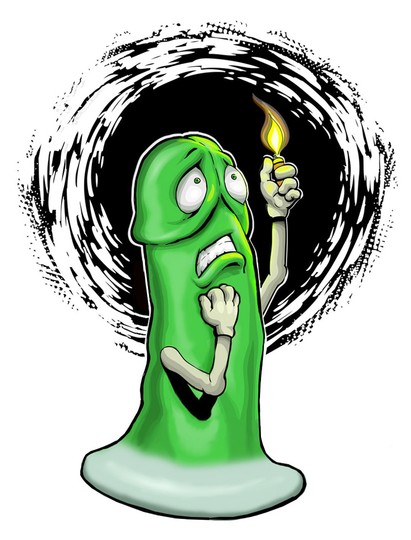 Drawing from SheVibe, of a green Mustang dildo trying to find its way in the dark.