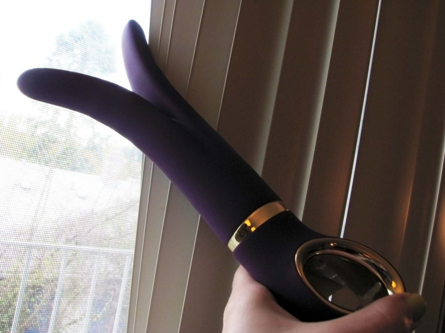 Fun Toys G-Vibe, a purple dildo with a split shape, creepin' on the neighbors through the blinds.