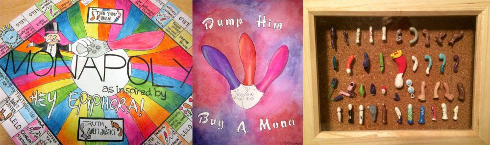 Artistic representation winners: Monapoly by SnarkIsRequired, watercolor by Mandi, shadowbox by Coryphelle