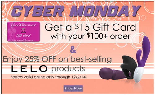 Cyber Monday at GoodVibes, 25% off LELO and more!