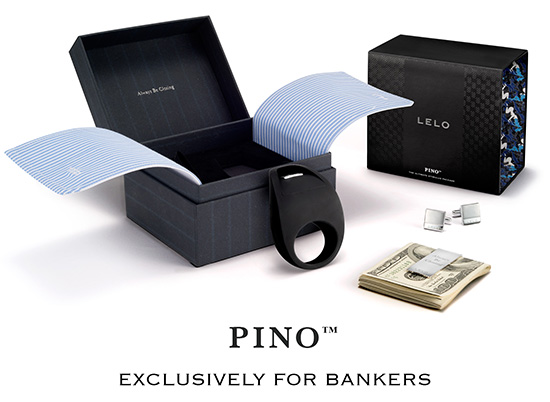 "LELO Pino... a cock ring ""exclusively for bankers"""