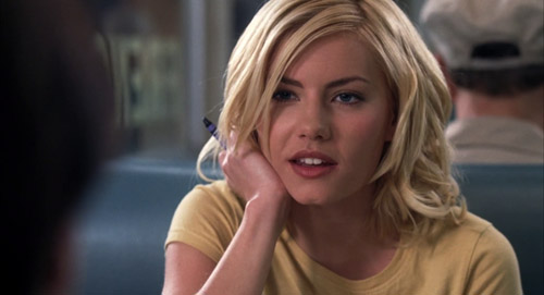 Danielle (Elisha Cuthbert) never closing her mouth in The Girl Next Door.