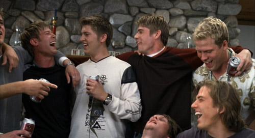 Dudebro jocks having some beers and laughs in The Girl Next Door.