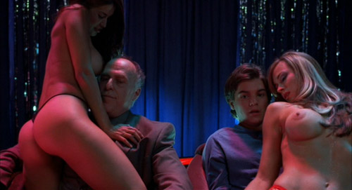 Matthew (Emile Hirsch) getting a lap dance next to his dad's friend, Peterson, in The Girl Next Door.