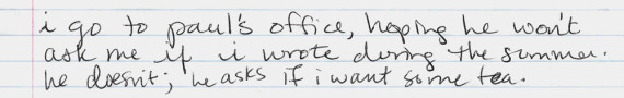 Notes from a journal entry about visiting a college professor after summer