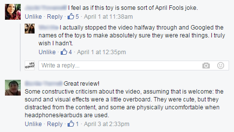 Facebook responses to my video.
