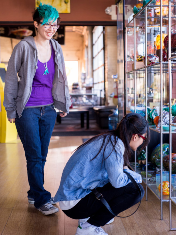 Aerie and Reenie in the glass studio. Photo by Penny.
