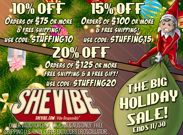 10-20% off sitewide at SheVibe this Black Friday through Cyber Monday!