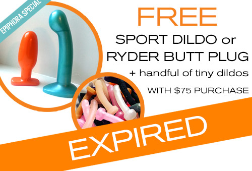 Free Sport or Ryder + handful of tiny dildos with $75 purchase at Tantus!