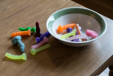 Tiny dildos in a bowl.