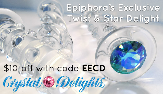 $10 off Epiphora's Exclusive Twist or Star Delight glass dildos at Crystal Delights