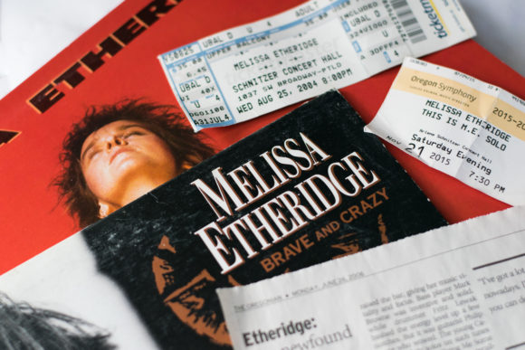 Melissa Etheridge memorabilia: vinyl, concert tickets, newspaper clipping