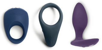 We-Vibe Verge and Pivot cock rings and Ditto butt plug
