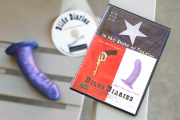 Dildo Diaries (2002). DVD sitting next to a purple dildo.