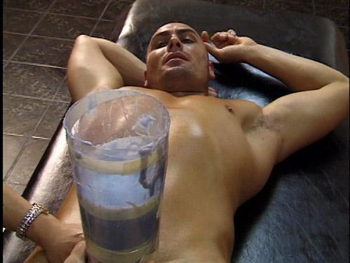 Pornstar Anton Michaels having his penis molded at Topco.