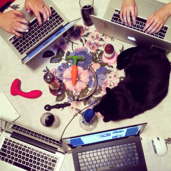 Circle of laptops at #dildoholiday, with sex toys and cat in the middle.