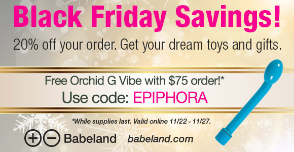 20% off everything at Babeland, plus free Orchid G vibe with orders over $75!